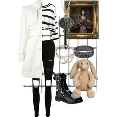 Alice Madness Returns, Asylum inspired by mockinghawk on Polyvore featuring polyvore fashion style Moncler Demonia HORSECKA JEWELRY Bee Charming John Lewis