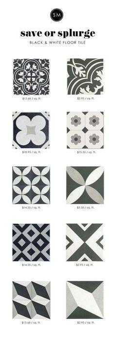 Save or splurge on black and white floor tile