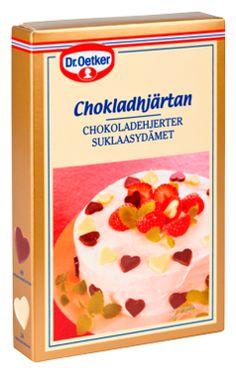 Dr. Oetker Suklaasydämet: kauniita, suklaisia sydänkuvioita kakkujen ja jälkiruokien koristeluun. Pakkaus sisältää 48 tummasuklaasydäntä ja 24 valkosuklaasydäntä.