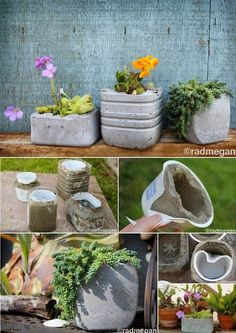 """Covering old food containers with concrete to use as planters. Given the wide variety of shapes things come in, you could have a lot of fun with this. Top it off with textured stone spray paint, and you have a really cool """"rock"""" planter for all your earthy design needs."""