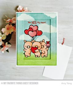 """By Amy Yang. Stamps from """"Hog Heaven"""" by My Favorite Things. Details on her website. Valentine Day Cards, Valentines, Valentine Doodle, Washi Tape Cards, Slider Cards, Mft Stamps, Animal Cards, Little Pigs, Cute Cards"""
