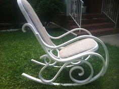 Rocking Chair Rocker Vintage Bentwood Antique White Chalk Painted  #ArtNouveau
