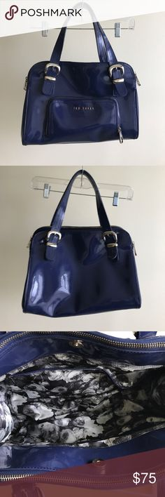 """Ted Baker purse Navy blue patent leather satchel style purse from Ted Baker. 3 compartments - 2 zippered and one with magnetic snap closure. Outside zippered pocket. 13"""" wide, 9"""" high, 6"""" deep. 8"""" handle drop.  In great condition. No stains or tears. slight scuff on front as shown. Ted Baker Bags"""