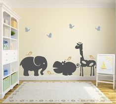 """♥♥♥♥ Included ♥♥♥♥ 1 Elephant - 22"""" tall by 31"""" wide 1 Hippo - 17"""" by 30"""" wide 1 Giraffe - 38"""" tall by 24"""" wide 4 Birds 4 Butterflies Directions for applying your decals ♥♥♥♥ Colors ♥♥♥♥♥ In the 'mess"""