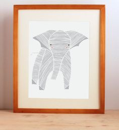 Safari Elephant Art Print Elephant Art Print Gray by Gingiber