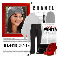 """Chanel Iman in the Beanie"" by conch-lady ❤ liked on Polyvore featuring STELLA McCARTNEY, The Elder Statesman, Oris, Rachel Comey, Gucci, Gianvito Rossi, Chapstick and beanie"