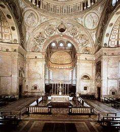 Presbiterio de la iglesia de Santa María delle Grazie. Milán. Remodelación realizada por Donato Bramante utilzando la ilusión pictorica de un espacio inexistente a modo de escenografía arquitectónica.