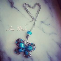 Collana modello Blue butterfly. ..con charm e pietra color blue...#collana#modello#blue#butterfly#charm#accessori#bijouxfattiamano#creazioni#madeinitaly#modaitaliana#jewelry#outfit#depop#