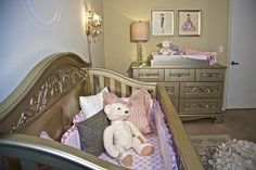 Vintage prints in a glam nursery - such a great detail! #nursery
