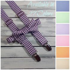 **PLEASE LEAVE EVENT DATE DURING CHECKOUT** PRODUCTION TIME: See shop home page for current production time  **Boys suspenders and bow tie set in plum purple gingham**  This listing is for one suspenders and bow tie set in gingham check made with 100% cotton quality fabric. Adjustable suspenders come with three silver pinch clips and have silver metal slides to adjust for growth. Bow tie has been lined for durability and to keep that crisp look. Also comes as a clip-on or with an adjustable…