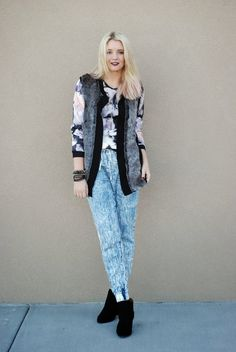 Fun 80's vibe with dark lips! Printed sweater and fur vest!  Outfit from www.theredclosetdiary.com