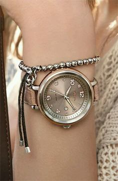 Fossil Bridgette Watch and Michael Kors beaded stretch bracelet.LOVE the bracelet Jewelry Accessories, Fashion Accessories, Fashion Jewelry, Stylish Watches, Fancy Watches, Cheap Watches, Fossil Watches, Handbags Michael Kors, Mk Handbags