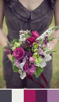 Charcoal grey pairs well with a bouquet of rich jewel tones. Source: The Nouveau Romantics #charcoalgrey #jeweltones  #bouquet