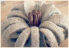 DIY pumpkins, jute twine (could use orange string?) wrapped pumpkin, cinnamon sticks, mason jar lid bands to make pumpkin Autumn Crafts, Thanksgiving Crafts, Holiday Crafts, Jar Lid Crafts, Mason Jar Crafts, Mason Jars, Mason Ring, Pumpkin Crafts, Diy Pumpkin