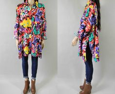 80s bright abstract floral oversized tunic dress / by DarkHorseVTG, $28.00