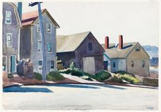 """(Gloucester Houses), Edward Hopper, 1923-24, watercolor and graphite pencil on paper, 13 7/8 × 19 15/16"""", Whitney Museum of American Art."""