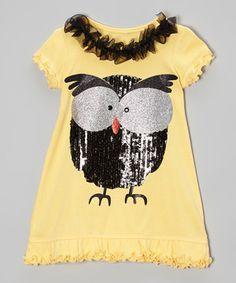 Bubblegum Diva Yellow & Black Owl Ruffle Dress - Infant, Toddler & Girls by Bubblegum Diva #zulilyfinds