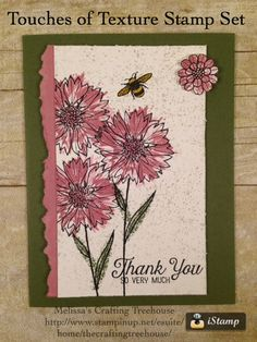 Handcrafted card featuring the Touches of Texture Stamp Set and Sweet Sugarplum, a 2016 - 2018 InColor.