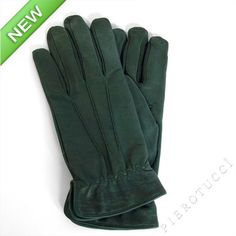 Green nubuck leather gloves for men with wool lining