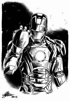 Ironman Avengers age of Ultron David Golding 2015 by DavidGolding Avengers Drawings, Avengers Tattoo, Drawing Superheroes, Avengers Characters, Avengers Art, Marvel Art, Black And White Picture Wall, Black White Art, Iron Man Drawing