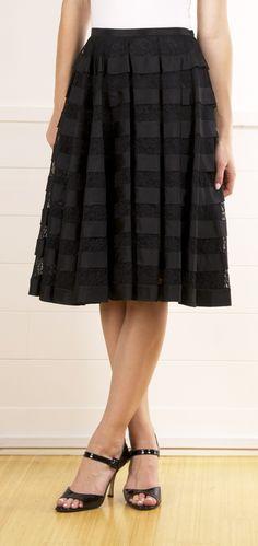 Anna Molinari Black Pleated Silk and Lace Skirt