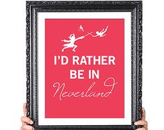 Rather Be In NEVERLAND, TINKERBELL and Peter Pan Art with Captain Hook, Childrens Decor, Childrens Wall Art, Library Decor, 8x10