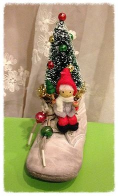 Christmas Decoration Vintage Baby Shoe Kitschy by JeanKnee on Etsy