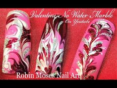 No water needed!  DIY Red and Pink Drag Marble Nails Art Design Tutorial - YouTube