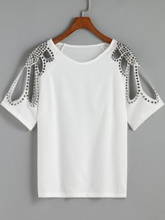 T-shirt creux col rond -blanc-French SheIn(Sheinside)