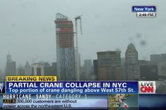 A crane has partially collapsed atop a construction site in midtown Manhattan, according to numerous sources. Initial reports say the building is the One57 skyscraper on West 57th Street between Sixth and Seventh Avenues — which when finished will be the tallest, most expensive residential building in the city. CNN reports the crane is now dangling from the structure.
