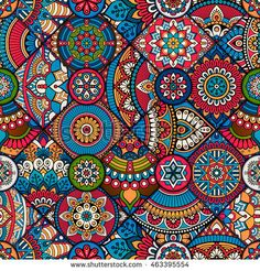 seamless tile pattern moroccan bohemian mandala vector design indian colorful pink tribal