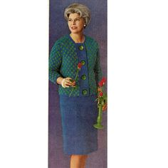 Vintage knitted two piece suit dress features a jacket and skirt. The design is knit in mohair has a plaid jacket and straight skirt sized 12 to Cute Cardigans, Sweaters, Suit Pattern, Straight Dress, Plaid Jacket, Two Piece Dress, Vintage Knitting, Dress Patterns, Knit Crochet