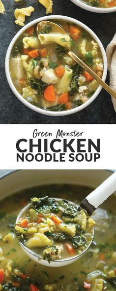Hypoallergenic Pet Dog Food Items Diet Program This Green Monster Spicy Chicken Noodle Soup Is Packed With Veggies And Flavored With Salsa Verde It Is The Perfect Soup For A Weeknight Meal Or If You Need To Kick A Cold. Make It Today Clean Dinner Recipes, Clean Eating Dinner, Healthy Soup Recipes, Cooking Recipes, Healthy Dinners, Healthy Lunches, Chili Recipes, Turkey Recipes, Lunch Recipes