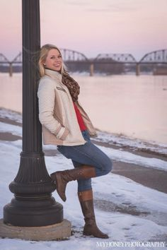 Teen model outdoors snow sunset lifestyle photography