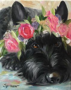 SPARROW Scottish Terrier Scottie dog art painting Floral Halo flower girl