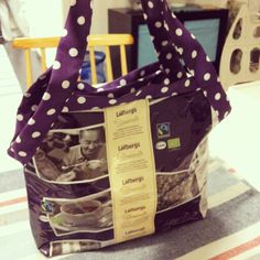 Recycled coffee bags into a bag