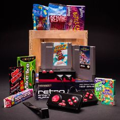 The most awesome assortment of retro candy and video games ever assembled in a single wooden crate (or time capsule, depending on how you look at it)..