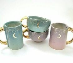 These starry gold moon mugs, 4 moon yunomis (the little cups), 4 moon ring dishes, and 4 moon incense holders are going live in my Etsy… Crackpot Café, Cute Mugs, Pretty Mugs, Best Coffee, Iced Coffee, Tea Set, Tea Party, Tea Cups, Decoration