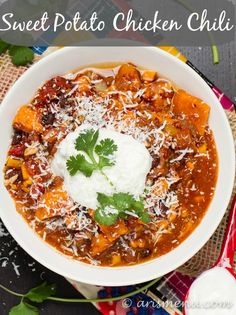 Recipe for Sweet Potato Chicken Chili. The name of this recipe seems a little odd, but reading the ingredients it looks good. Bonus, it is a crockpot / slow cooker recipe. Chili Recipes, Slow Cooker Recipes, Crockpot Recipes, Chicken Recipes, Cooking Recipes, Healthy Recipes, Cooking Chili, Cooking Ribs, Cooking Steak