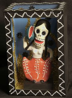 They are always depicting a happy skeleton doing something they enjoyed when they were alive.    Most of the folk art we sell is made by artisans in Oaxaca, Puebla, and the state of Mexico