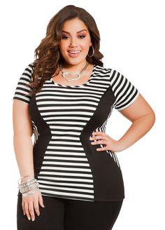 d5b90e88884 Striped   Blocked Crewneck Top - Ashley Stewart. Shaka Parker · Curvy  Fashions · Inca Jumpsuit Plus Size ...