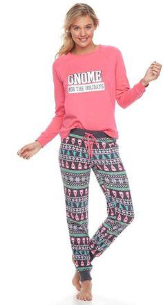 Juniors  SO® Microfleece Raglan Banded Bottom Sleep Pants Set f051c9186
