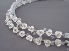 Porcelain Open Roses and Swarovski Crystals Open Rose, Tiaras And Crowns, Christening, Swarovski Crystals, Pearl Necklace, Porcelain, Roses, Wedding Ideas, Candles