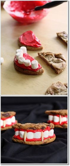 Dracula's Dentures - made from chocolate chip cookies, red frosting, and marshmallows. treat good for halloween snacks Bolo Halloween, Postres Halloween, Halloween Treats For Kids, Halloween Goodies, Halloween Desserts, Holidays Halloween, Holiday Treats, Halloween Fun, Spooky Treats