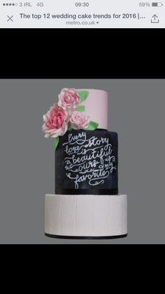 Chalk board effect wedding cake