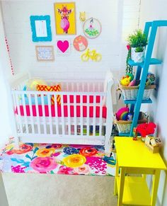 Irha's den this morning after putting away all the toys 🎀 Girl Nursery Colors, Bright Nursery, Baby Room Colors, Rainbow Nursery, Baby Nursery Decor, Baby Decor, Nursery Ideas, Cool Kids Rooms, Nursery Inspiration
