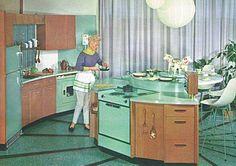 Mint green MCM kitchen