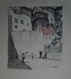 "Francois Maurice Roganeau Litho "" Pelote Basque A Motrico "" Signé | eBay"