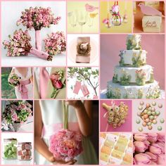 too much pink, but look a the snowberry bouquets and the button bouquet and the birds and the amazing cake!