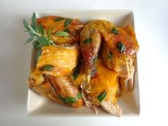Roast guinea hen with fresh sage Fresh sage enhances the slightly wild flavor of guinea hen with an unusual and pungent fragrance. In this recipe, the bird is roasted whole and allowed to sit for a… Sage Recipes, Chef Recipes, Yummy Recipes, French Summer, French Food, Quick Meals, Bon Appetit, Chicken Wings, Meal Planning